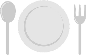 Tableware - Spoon, Fork, and Plate clipart
