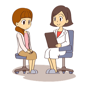 Doctor and Woman Patient clipart