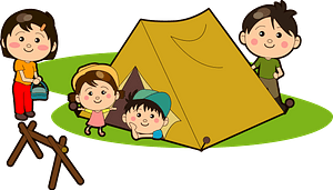 Family is Camping in a Tent clipart