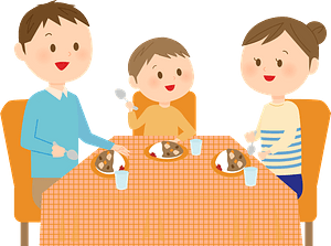 Family is Eating Curry Rice clipart