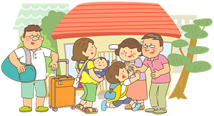 Family Gathered in Their Home Town clipart
