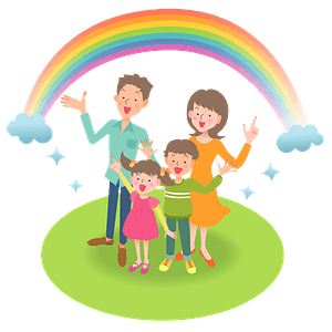 Family is Standing Under a Rainbow clipart