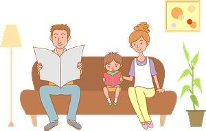 Family is Reading on the Sofa clipart