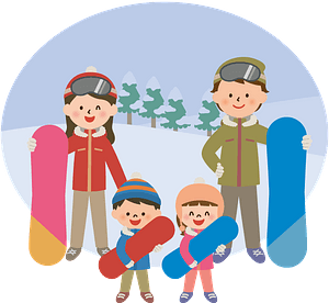 Family is Snowboarding clipart