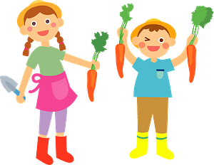 Farmer Children are Holding Carrots clipart
