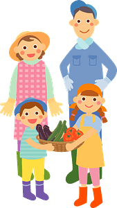 Farmer and His Family clipart