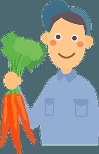 Farmer Man is Holding Carrots clipart