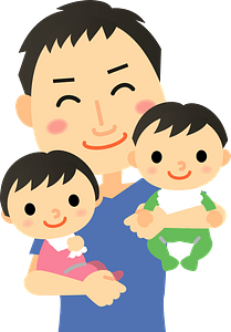 Father is Holding His Children clipart