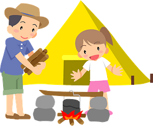 Father and Daughter are Camping clipart