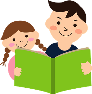 Father and Daughter are Reading a Book clipart