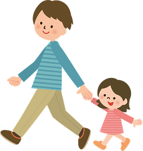 Father and Daughter are Walking clipart