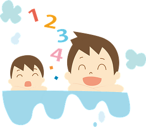 Father and Son are Bathing clipart