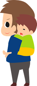 Father is Carrying Sleeping Son clipart