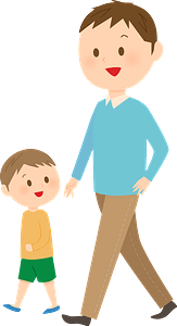 Father and Son are Walking clipart