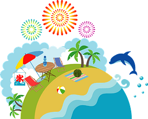 Fireworks Over the Beach in Summer clipart
