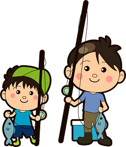 Father and Child are Fishing clipart