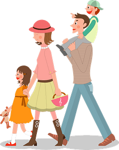Family of Four is Walking clipart