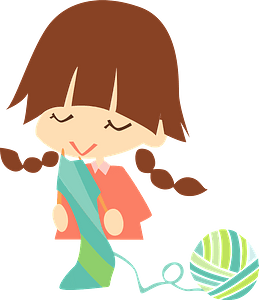 (Brittany) Girl is Knitting clipart