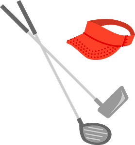 Golf Clubs and Sun Visor clipart
