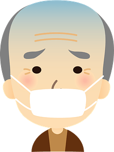 Grandfather is Sick with a Cold clipart