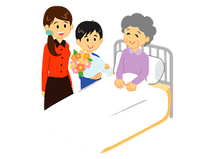 Grandchild is Visiting Grandmother in the Hospital clipart