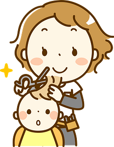 (Lydia) Hairdresser is Giving a Baby a Haircut clipart