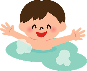 Child is Splashing in a Hot Spring clipart