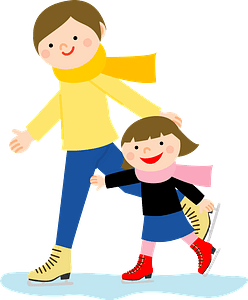 Mother and Daughter are Ice Skating clipart
