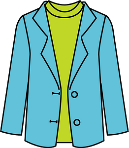 Blue Jacket over a Green Shirt clipart