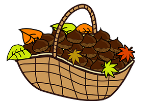 Japanese Chestnuts are in a Basket clipart