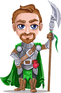 Knight in Armor is Holding a Battle Axe clipart
