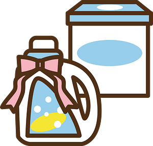 Laundry Detergent is Decorated with a Bow clipart