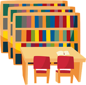 Library - Bookshelves, Table and Chairs clipart