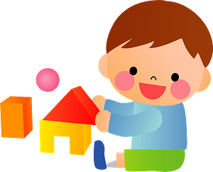 Little Boy is Playing with Building Blocks clipart