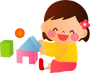 Little Girl is Playing with Building Blocks clipart