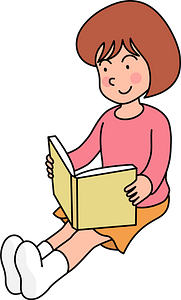 Little Girl is Reading a Book clipart