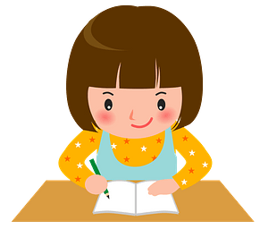 Little Girl is Studying clipart