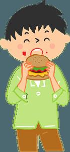 Man is Eating a Hamburger clipart