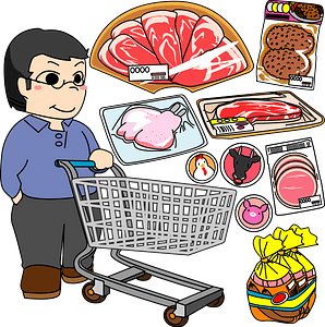 Man is Shopping for Meat clipart