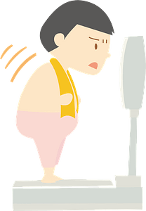 Man is Weighing Himself on a Scale clipart