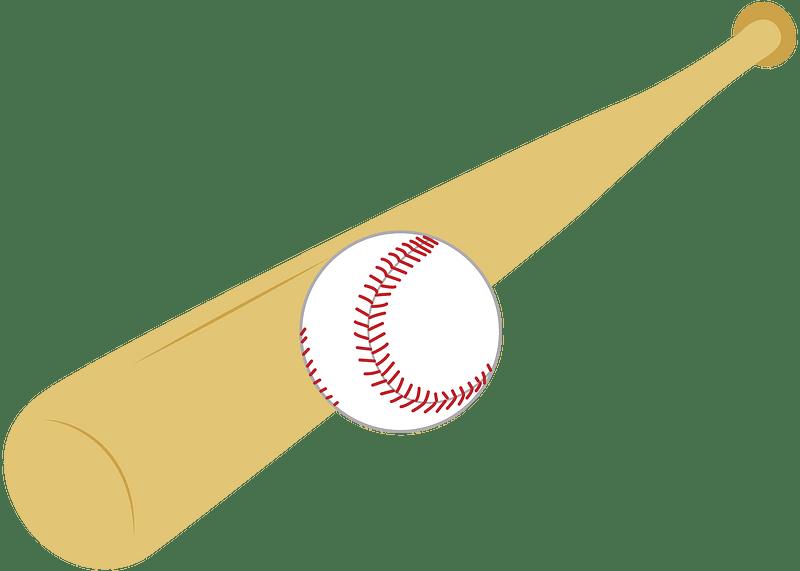 Baseball bat and ball clipart