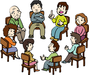 People are Having Conversation in a Meeting clipart