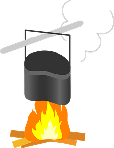 Mess Kit for Cooking over the Campfire clipart