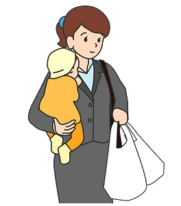 Mother and Baby Went Shopping clipart