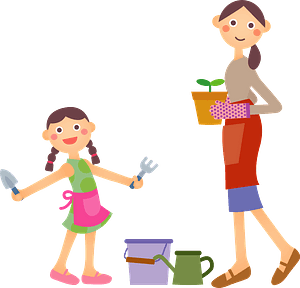 Mother and Daughter are Gardening clipart