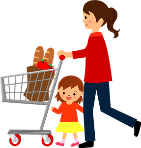 Mother and Daughter are Shopping clipart