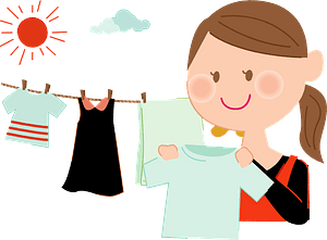 Mother is Hanging Laundry Out clipart