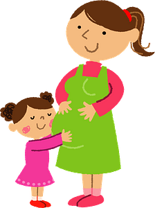Daughter is Hugging Pregnant Mother clipart