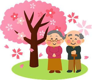 Old Couple Standing Under the Cherry Blossoms clipart