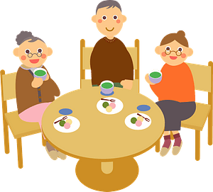 Old People are Having Tea clipart